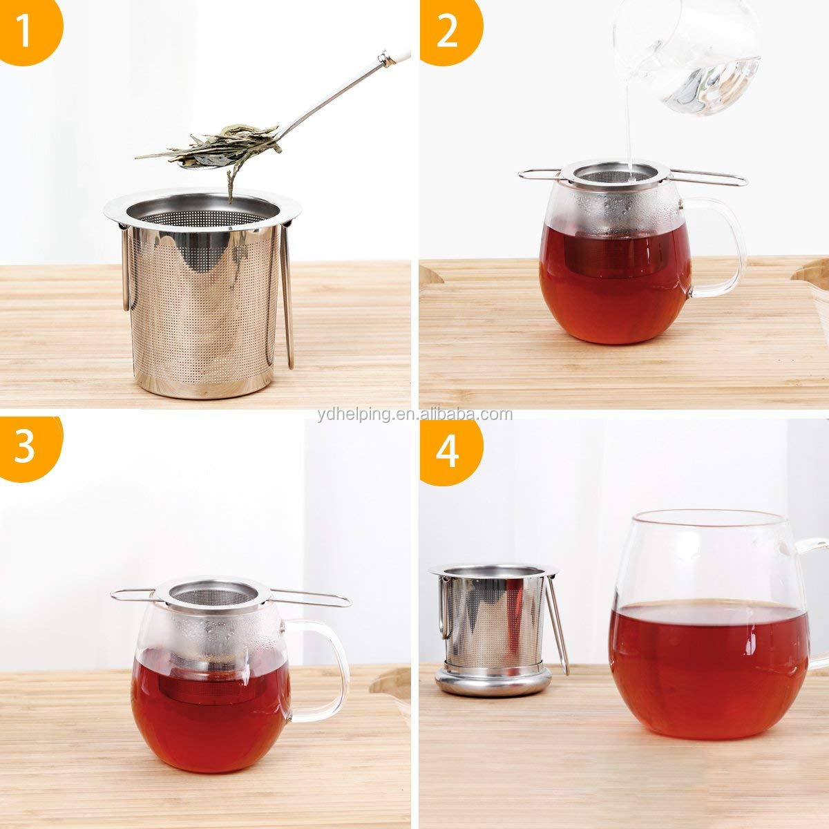 Tea Infuser 304 Stainless Steel Including 2 Mesh Tea Strainer & 1 Scoop with Double Folding Handles for Hanging on Teapots, Mugs