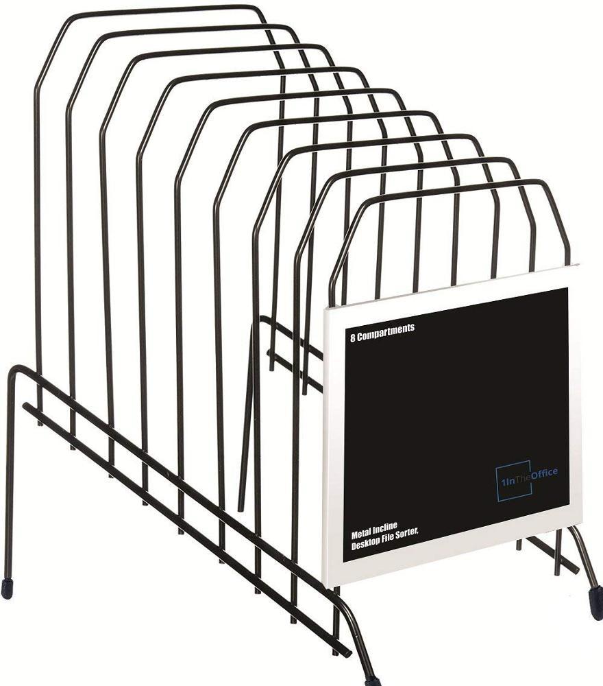 Офисный металлический Наклонный Настольный органайзер для сортировки файлов, 8 отделений, черный