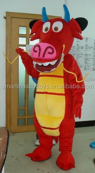 the red dragon mascot costume for New year fit all adult dragon mascot costume