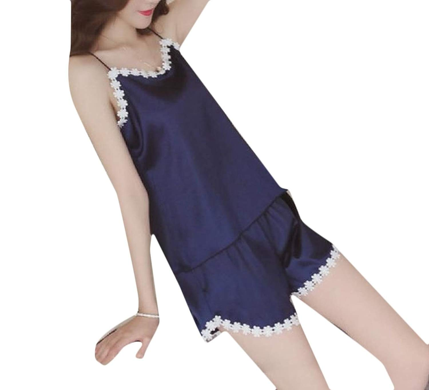 547e481081a Get Quotations · Tootless-Women Silky House Shorts Ice Silk Cami Tank Tops  Sexy Summer Pjs Set