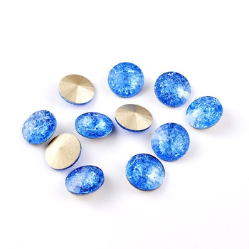 Rivoli Round Nail Rhinestone Fancy Stone Beads For Nail Art Garment Without Claw Point Back