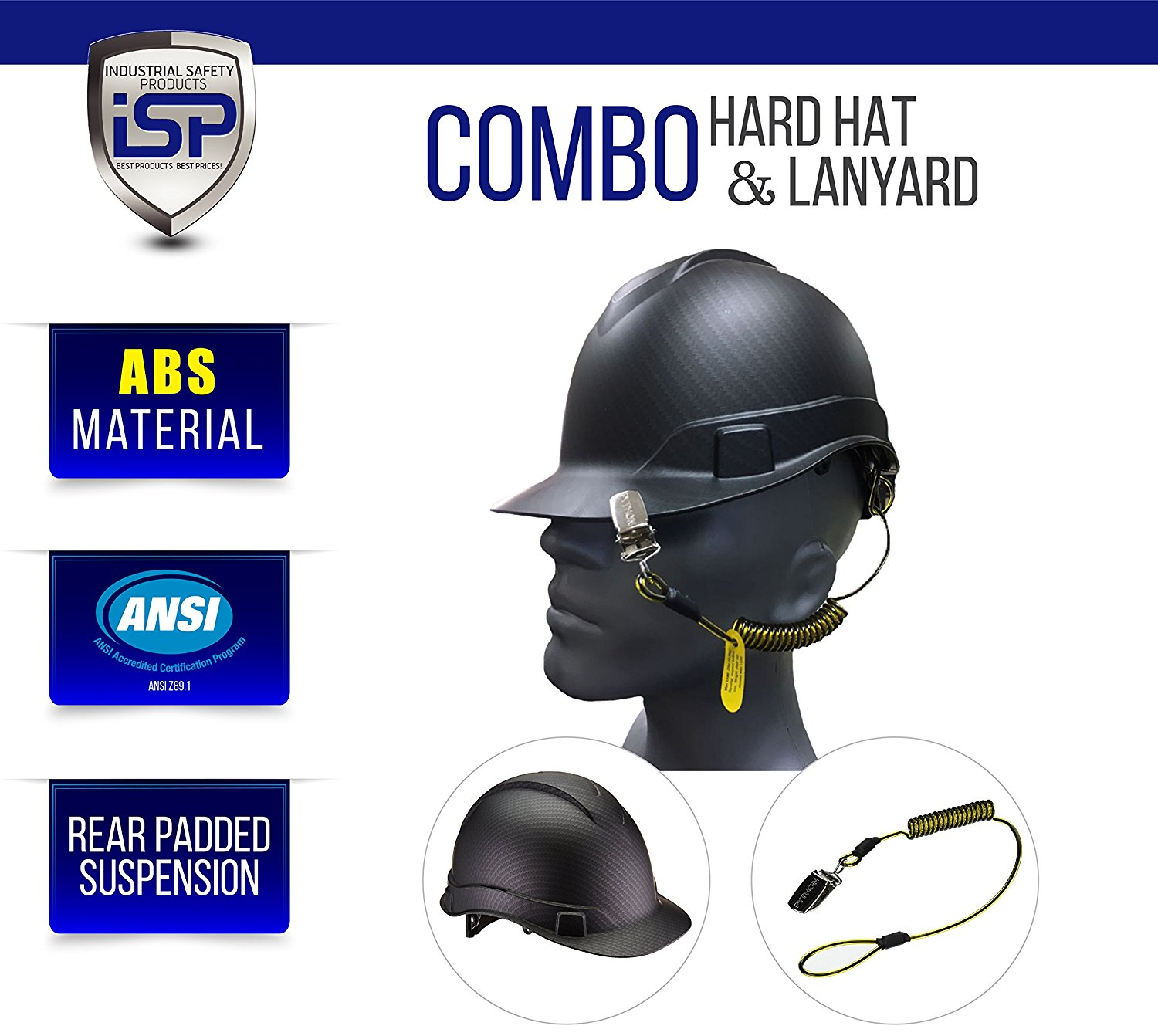 Get Quotations · Pyramex Ridgeline Cap Style Hard Hat with Hard Hat Lanyard  Coil Tether (Matte Black Graphite ae8e1b67eb52