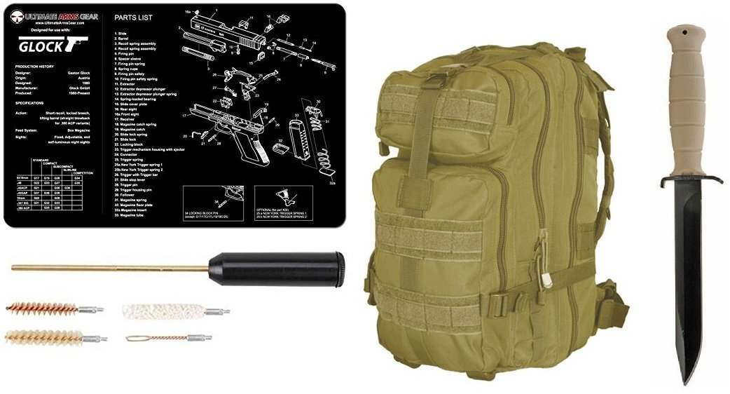 "Glock 78 Sand Tan Field Knife 6.5"" Length Carbon Steel Blade Polymer Handle Clip Point with Sheath + Ultimate Arms Gear MOLLE Backpack + Glock Mat + Cleaning Kit"