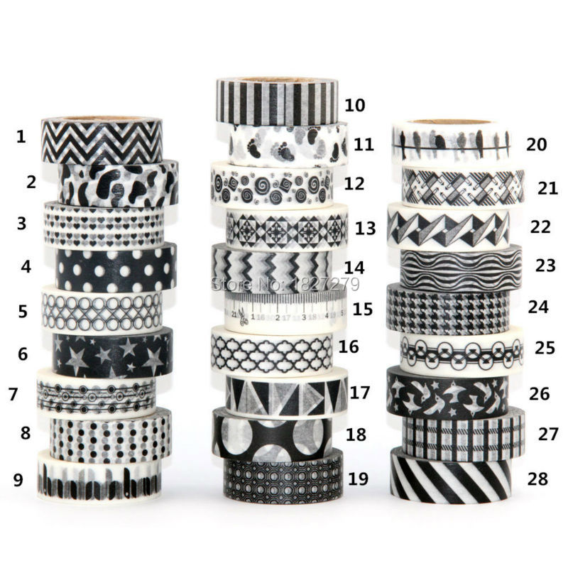 1X 15mm Tape Black White set Dot Flower Star Print Scrapbooking DIY Sticker Decorative Masking Japanese