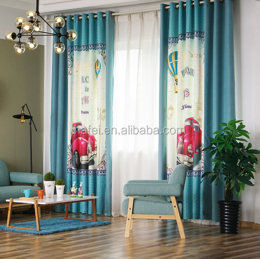 industrial car 100% polyester fabric 3d printing blackout curtain