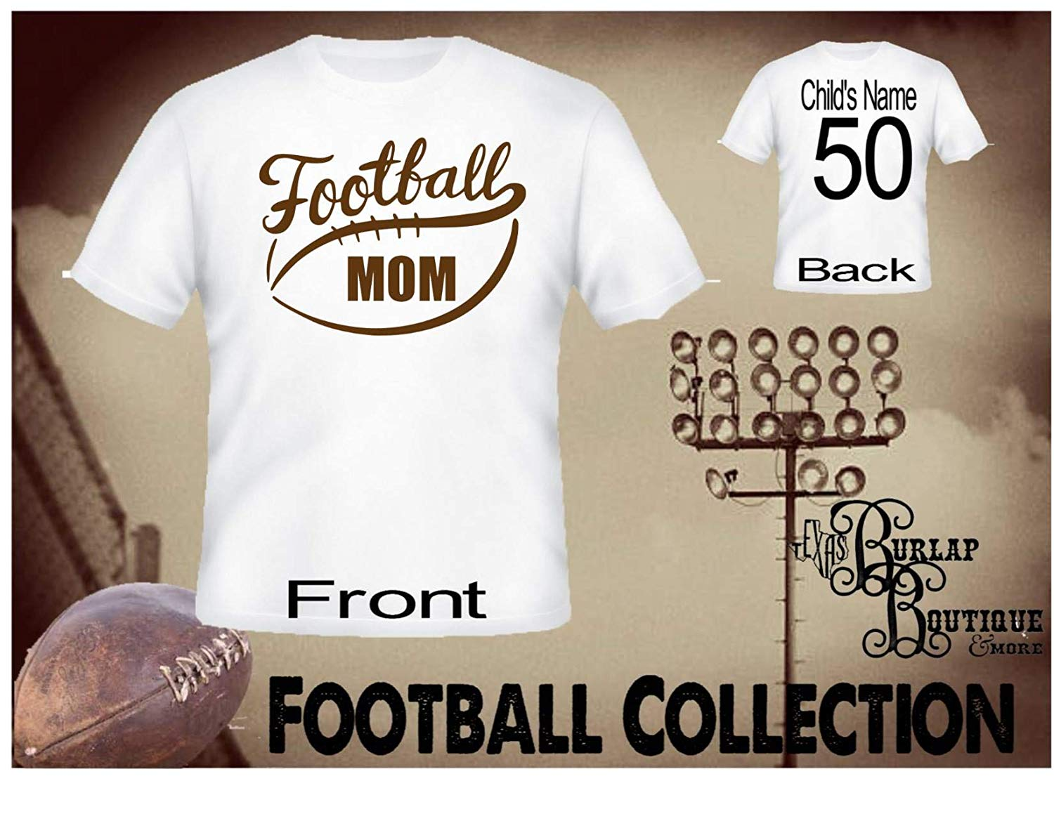 Handmade Personalized Football Shirt, Loud & Proud Football MOM, Tee, T - Shirt, Tshirt, Football Quotes, Kids, Girls, Adult, Sizes XS - 3XL Several colors
