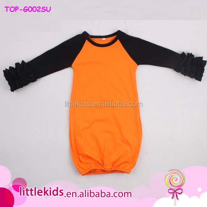Wholesale Boutique Cotton Kids Clothes Newborn Ruffled Long Night Gown