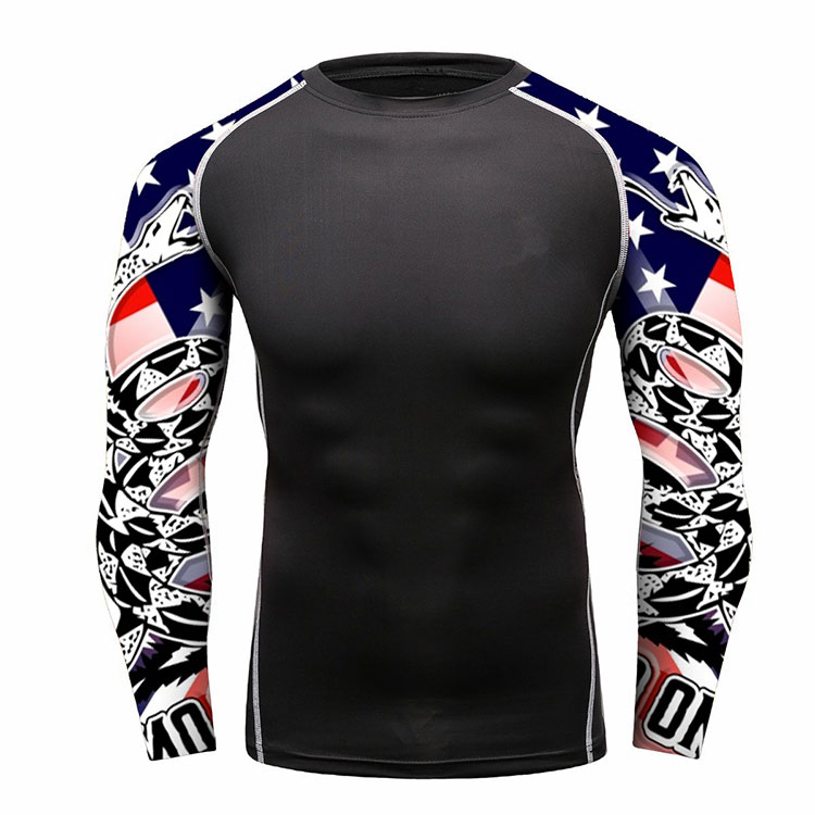 Benutzerdefinierte Lycra Stoff Mens Compression Shirts USA Confederate Gadsden-flagge Rash Guard Sets