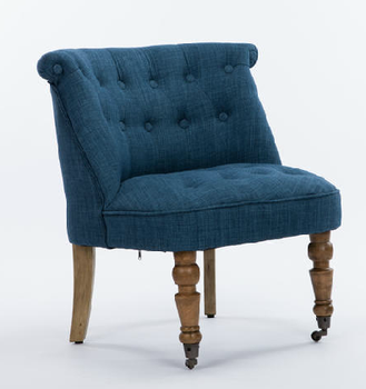 Wheel Fabric Wooden Leg Sofa With Crystal Button