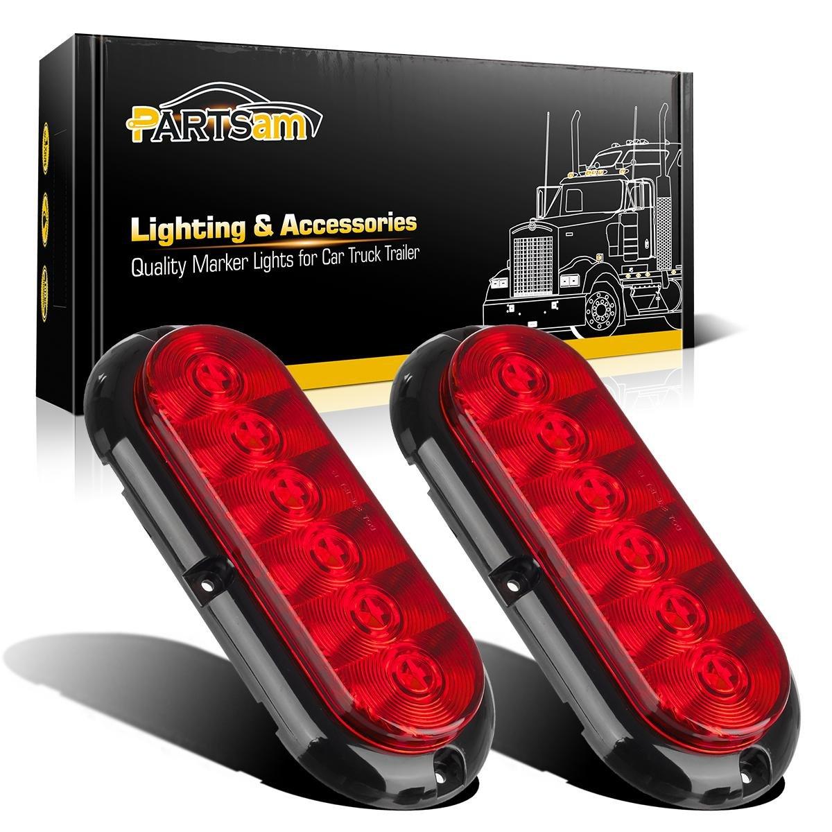 "Partsam 2PCS Trailer Truck Boat Bus Red LED 6"" Inch Oval Stop Turn Tail Brake Light DOT Certified Marker Lights Sealed Surface Mount 12V Waterproof for RV Jeep Trucks"