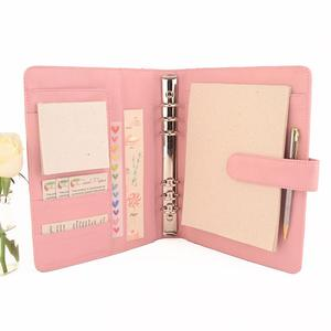 Custom personalized pale pink leather diary A5 leather ring binder day planner