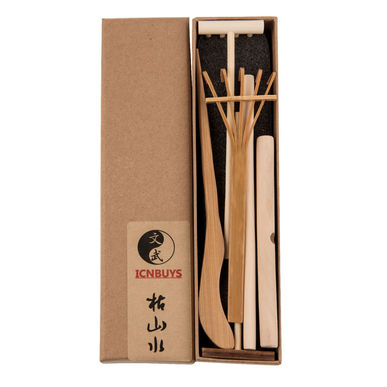 ICNBUYS Professional Mini Zen Garden Tools Set Three Rakes One Bamboo  Drawing Pen One Pushing Sand