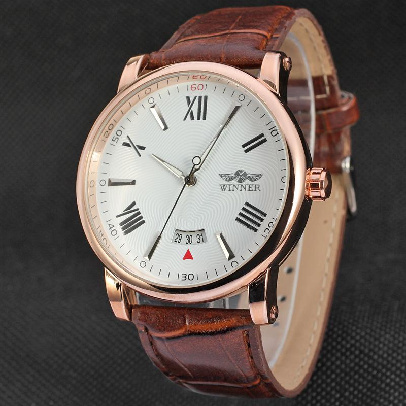 Новый Reloj хомбре победитель часы классические мужские авто дата автоматические механические часы с автоподзаводом аналоговый коричневая кожа человек часы
