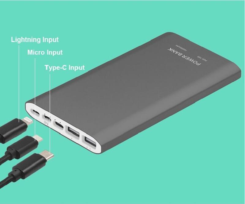 Leeon Power High Capacity Latest Style Metal Power Bank 10000mAh Good Quality LED Display Universal Portable Charger