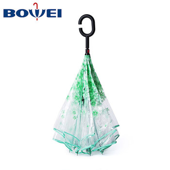 Waterproof Double Layer POE Material Transparent Reverse Umbrella