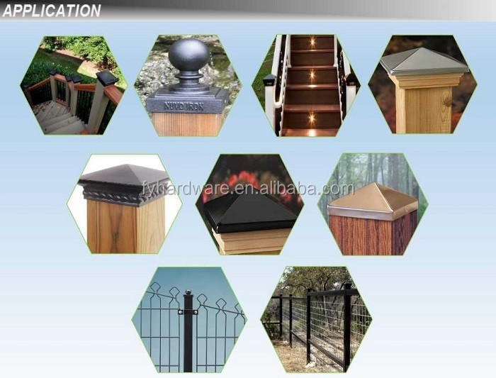 Copper Plated Aluminum Decorative Fence Post Cap 4x4 Fence