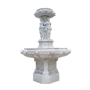 Stone Carved Marble figure statues lion head Water fountain
