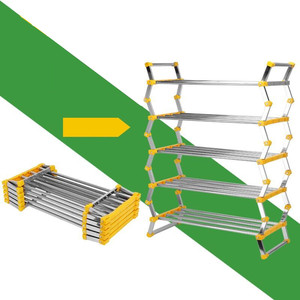Stainless steel pull out Storage rack free installation folding shoe rack
