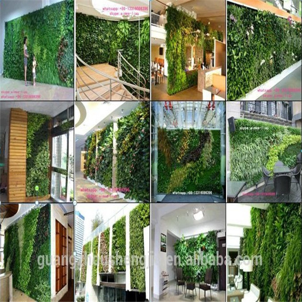 Green Plastic Plants Wall Artificial Plants Wall For Meeting Room Decoration