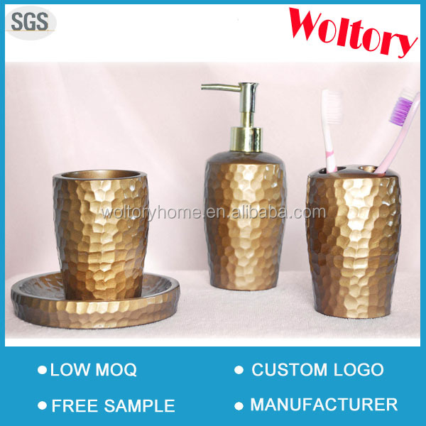 Gold polyresin bath accessory bathroom set