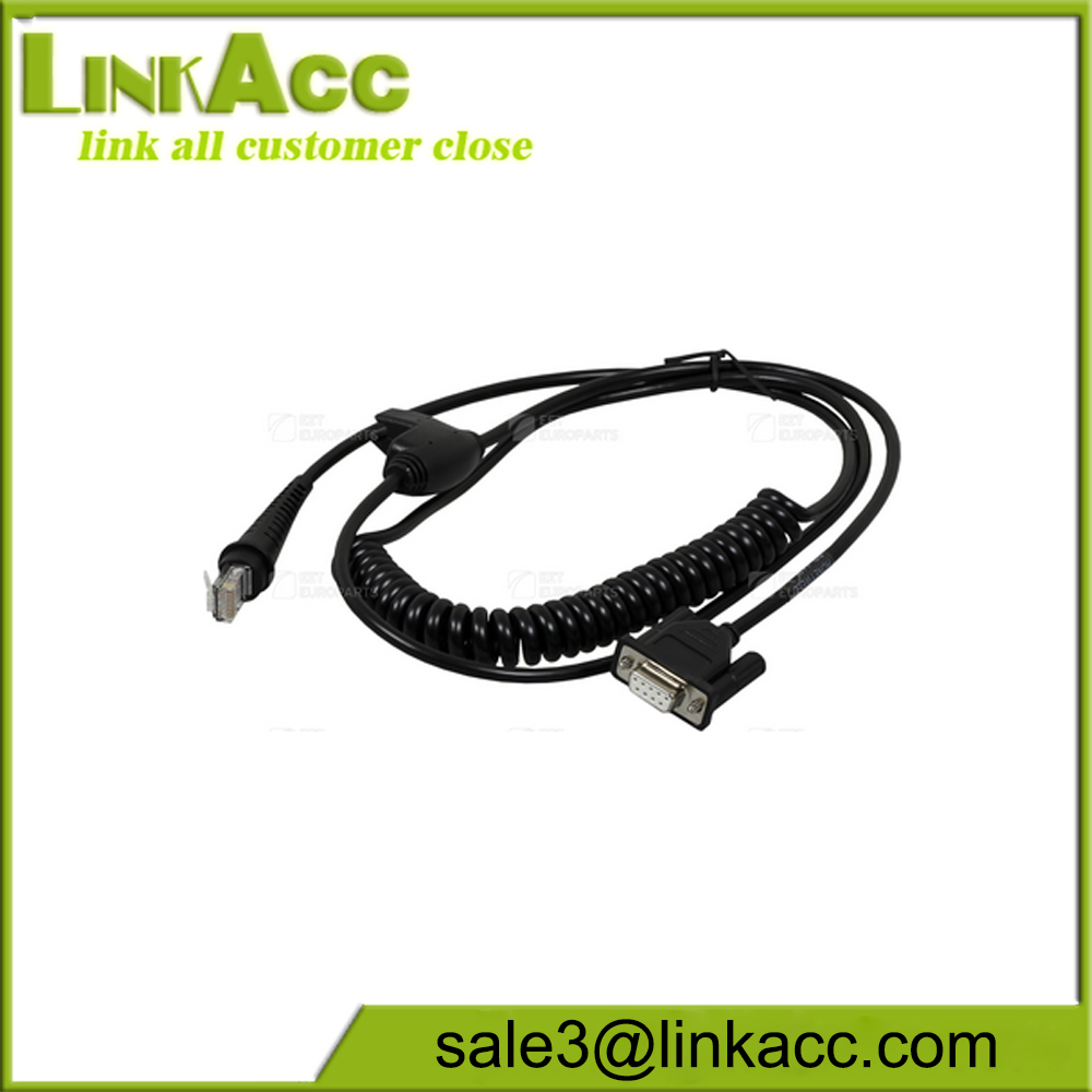 Coiled 5V external power DB9 female RS232 Barcode scanner Cable for Honeywell