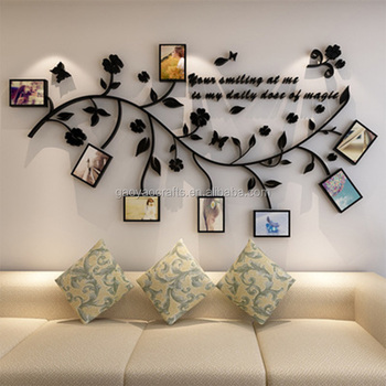 3d acrylic leaves photo frame wall stickers children living room tv