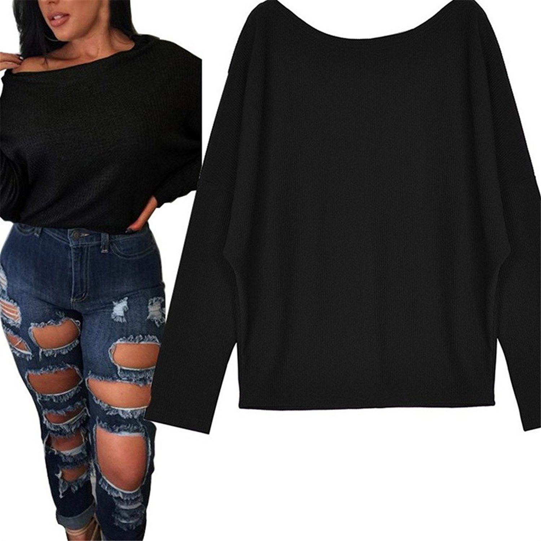 Women Blouse,Haoricu Fall Women Oversized Batwing Sleeve Pullover Loose Blouse