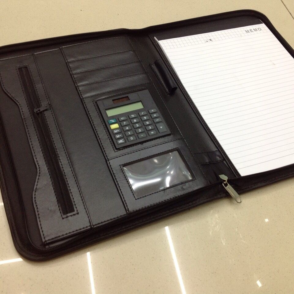 Shinning Pu leather organizer folder with pen holder