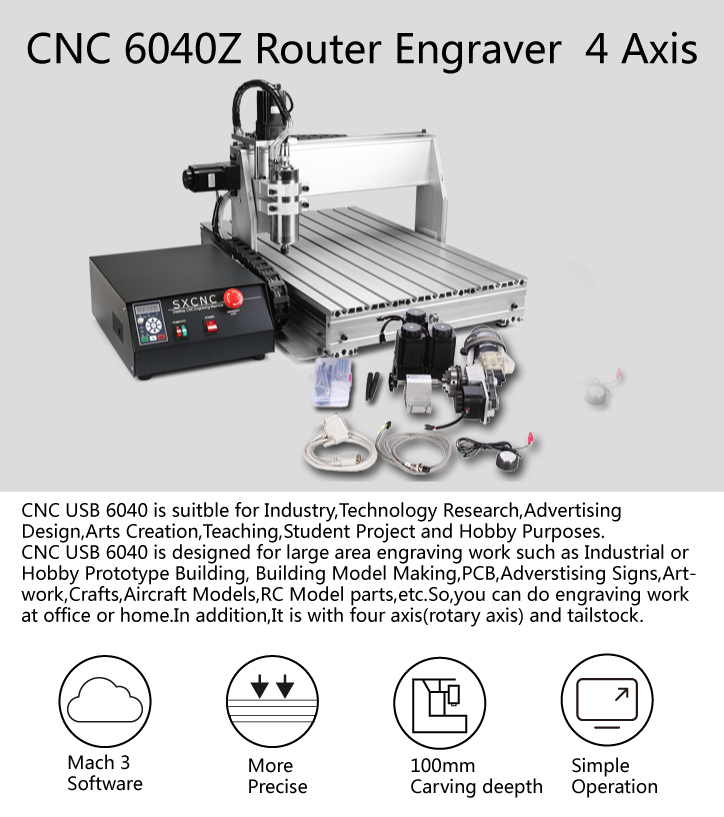 CNC Router 6040Z 4 Axis CNC Router Mesin 800W Spindle Ukiran Mesin Axis USB Port 1605 Bola sekrup