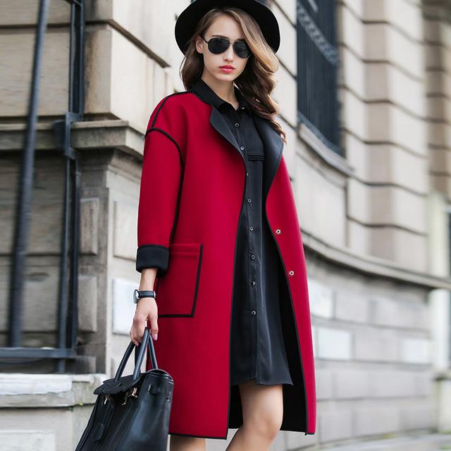 0e5a1b9fb40 Горячая 2016 женский осень зима куртка женщин новинка с длинными рукавами  шерсти шерстяная женские куртки длинные