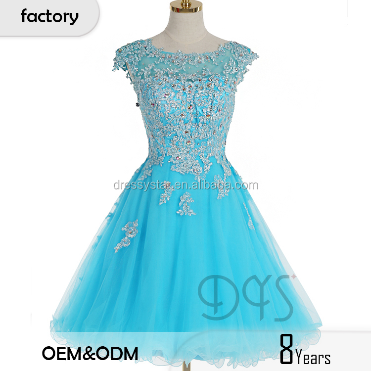 8fbd775bb76dca 2017 China groothandel leuke lichtblauw A-lijn kralen kant geappliceerd korte  puffy prom jurk