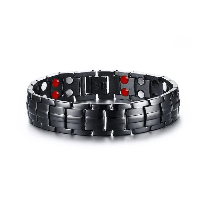 04e5144aefb5 De moda de acero inoxidable negro brazalete pulseras de la joyería de la  pulsera de los