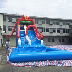 Custom hot sell safe PVC tarpaulin octopus cartoon inflatable water slide dry slide for adults or kids party or rental business
