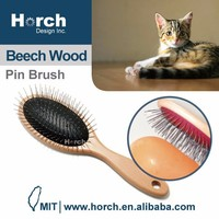 Wooden handle pet brush for pet grooming cat grooming/ round end pin brush can be pet cat toy/pet product/