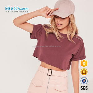 MGOO Garment 2017 Young Girl Short Sleeves Off Shoulder Tee Rolled Sleeves Women Crop Tops Pima Cotton Tee Shirts