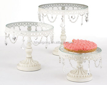 Ct941 White Round Cake Stand With Silvery Metal Pillar Cake Stand