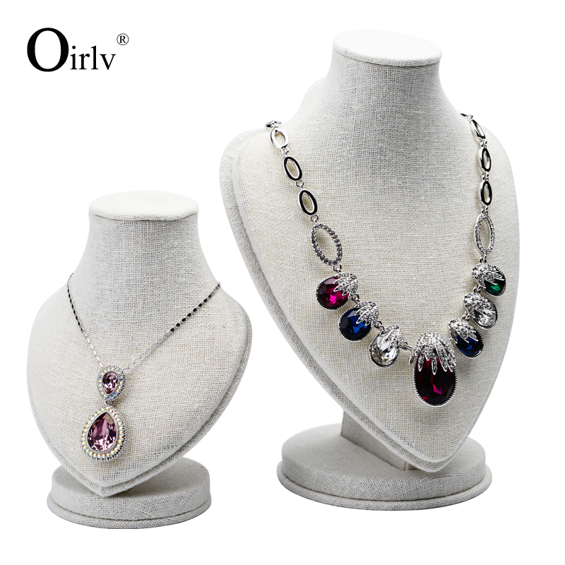 Oirlv China supplier custom logo creative heart shape jewellery necklace busts displays MDF linen neck mannequins jewelry bust