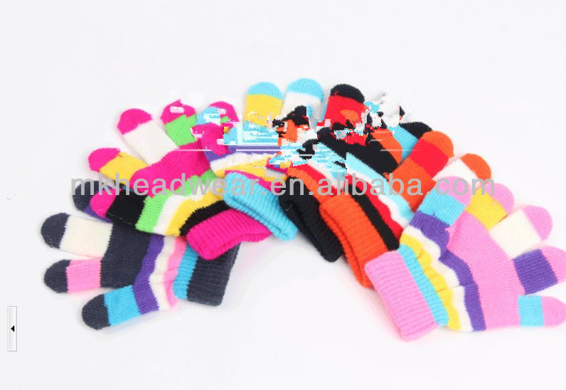 Custom Multicolor Kids Knitted Hands Magic Stretch Gloves