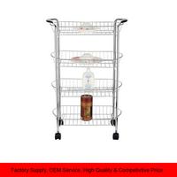 Rolling 4 Tier Metal Storage Basket cart