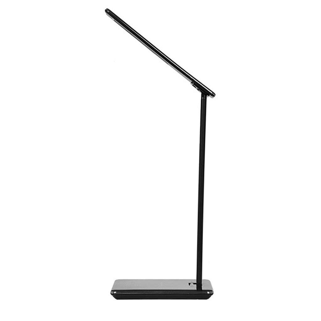 Wsxxn Creative Foldable Touch Control Desk Lamp Wireless Charging USB Smart Charging LED Energy-saving Eye Protection Table Light Black Aluminum Office Study Desk Lamp