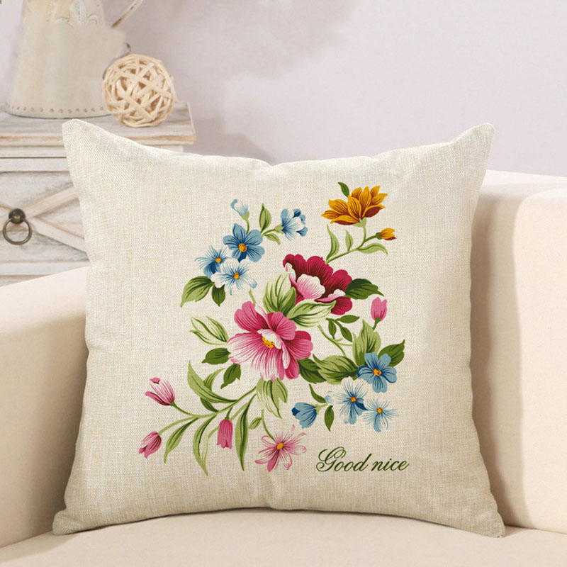 Pleasant Nature Flower Cotton Polyester Linen Pillow Case Sofa Couch Throw Cushion Cover Home Decor Pillows Covers Buy Leather Sofa Seat Cushion Creativecarmelina Interior Chair Design Creativecarmelinacom