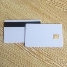 blank white Plastic PVC SLE5528 Chip Smart Cards with magnetic stripe