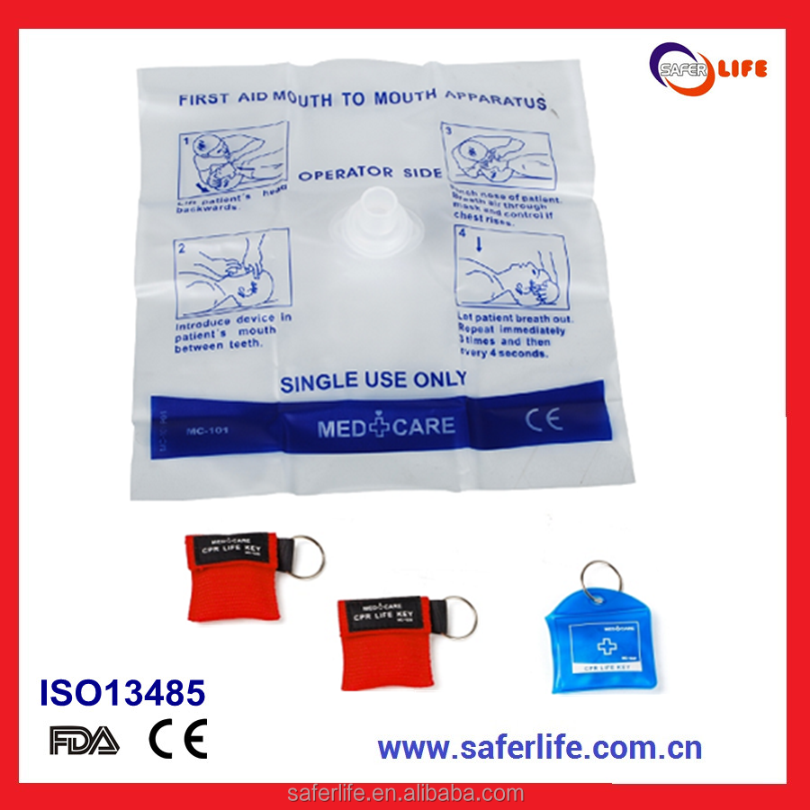 CE FDA Approved Disposable cpr face shields mask with PE pounch material for first aid emergency device product
