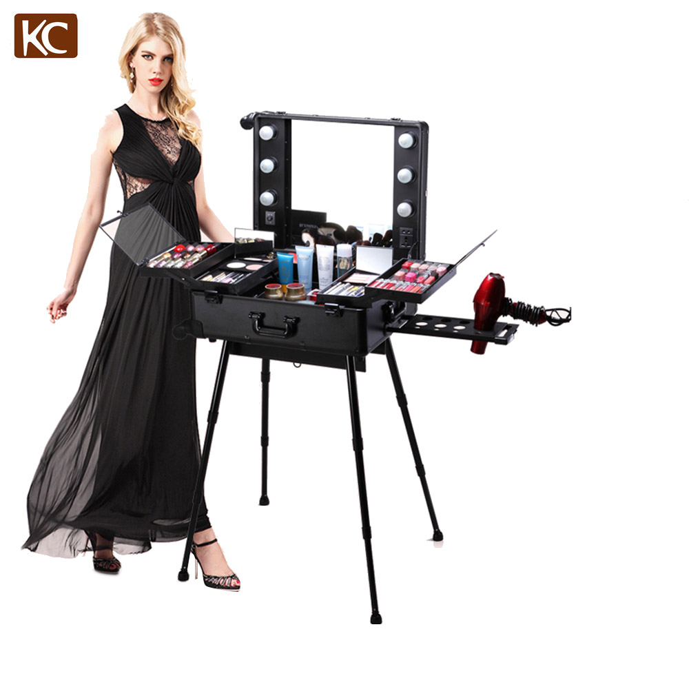 Profelssional Make-Up Schönheit Licht Fall Roll Trolley Make-up Zug Fall KC-210