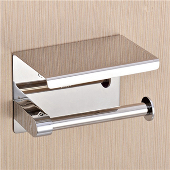 Elegant and luxury 304 stainless steel toilet paper roll holder with phone shelf