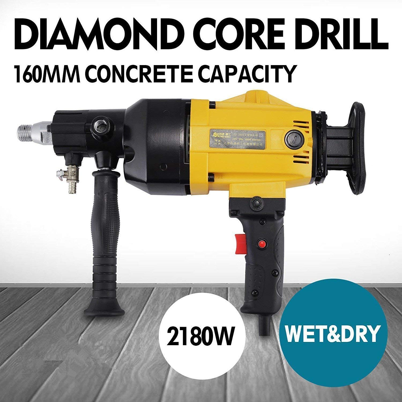 Happybuy Diamond Core Drilling Machine 6 Inch 160 mm Handheld Diamond Core Drill Rig Variable Speed Wet Dry Core Drill Rig for Diamond Concrete Drilling Boring