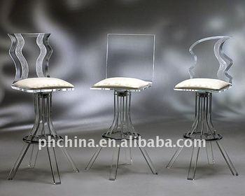 Pw nuovo disegno di cristallo acrilico bar sedie con schienale