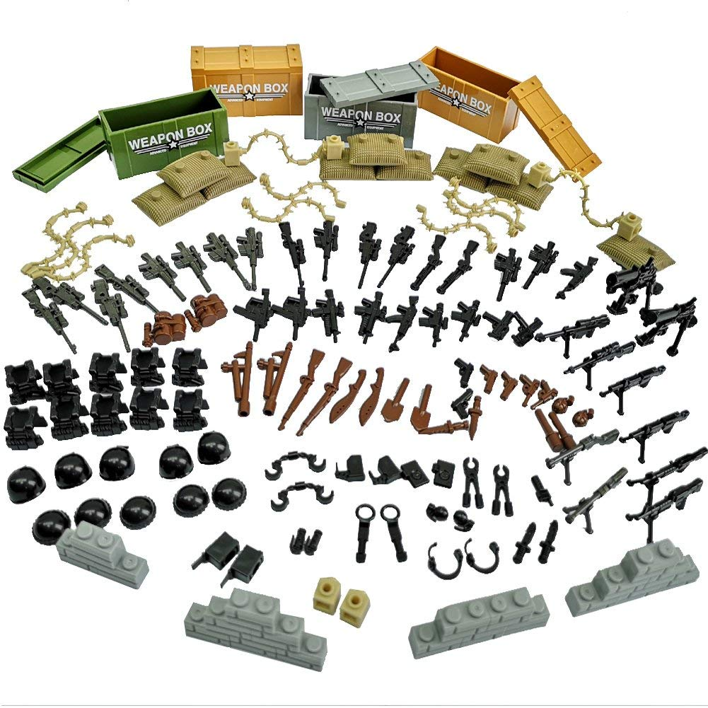 Taken All Custom Military Army Weapons and Accessories Set Compatible Major Brands ,Accessories - Hats, Weapons, Tools, Modern Assault Pack Military Building Blocks Toy