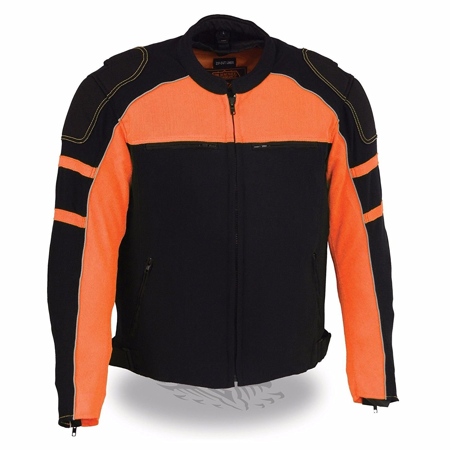 Mens Motorcycle Riding armors & Rain jacket Liner Mesh Blk/Orange Jacket (L Regular)