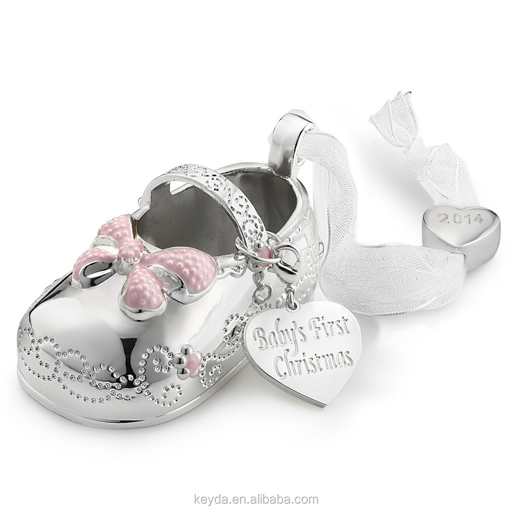 First christmas ornament baby - 2017 Girl Baby Bootie Christmas Ornament